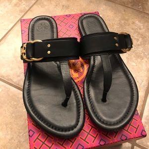 Tory Burch Marsden Black Thong Sandals